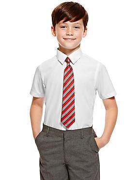 2 Pack Boys' Slim Fit Non-Iron Shirts, WHITE, catlanding