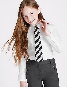 2 Pack Girls' Slim Fit Pure Cotton Non-Iron Blouses, WHITE, catlanding