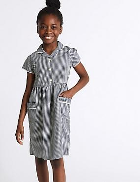 Girls' Classic Summer Gingham Dress, NAVY, catlanding