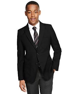 Senior Boys' Crease Resistant Blazer, BLACK, catlanding