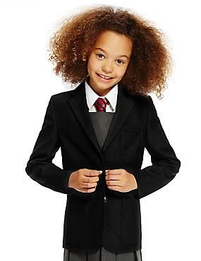 Junior Girls' Crease Resistant Blazer, BLACK, catlanding
