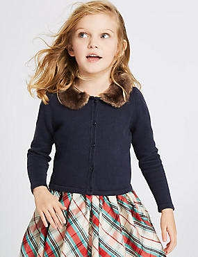 Pure Cotton Faux Fur Collar Cardigan (1-10 Years), NAVY, catlanding