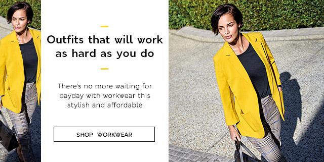 Model walking through sunny park wearing yellow blazer